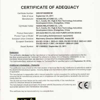 SF6 GAS RECYCLING AND PURIFICATION DEVICE NOVA CERTIFICATION